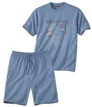 Kurzer Schlafanzug mit maritimem Motiv