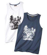 Set van 2 mouwloze shirts 'Best Beach'