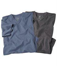 Lot de 2 Tee-Shirts Chinés Col V