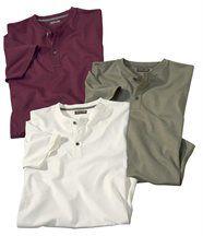 Lot de 3 Tee-Shirts Col Boutonné