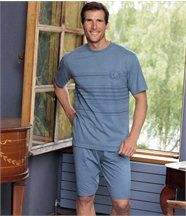 De blauwe korte pyjama