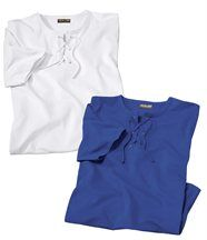 Lot de 2 Tee-Shirts Col Lacet