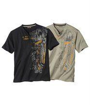 Set van 2 T-shirts met uitlopende hals