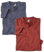 Set van 2 T-shirts met knoopsluiting bij de hals