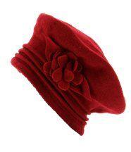Béret laine bouillie chapeau bonnet - flower - rou