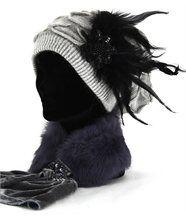 Bonnet angora chapeau beret - shoukka plumes -  ta