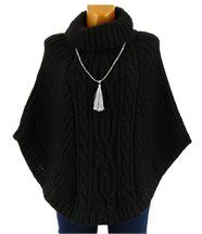 Poncho pull cape laine mohair grosse maille hiver