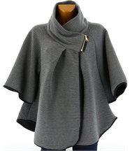 Cape veste manteau grande taille ample gris  matil