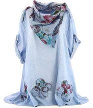 Chemise + écharpe  Coton Bleu  - MARIETTE -