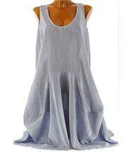 Robe Boule asymétrique coton  - PENELOPE - bleu