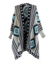 Gilet long poncho laine beige gris artemis