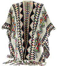 Poncho cape laine ethnique gris ANTHEA