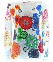 Pull long coton bohème imprimé hippie blanc VALERI