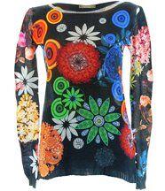 Pull coton imprimé hippie noir valerie