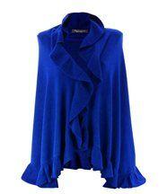 Étole châle laine volants bleu royal cesare