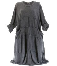 Robe laine bohème longue gris ROSALIE
