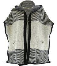 Poncho cape capuche laine noir calypso