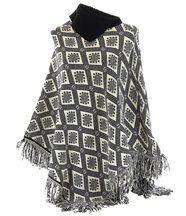 Poncho pull ethnique noir anouka