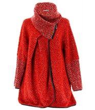 Manteau laine bouillie rouge violetta
