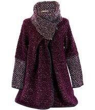 Manteau laine bouillie prune  violetta