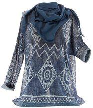 Tunique foulard bohème jean ample ELIORA