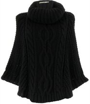 Poncho mohair grosse maille noir elody