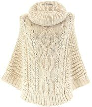 Poncho mohair grosse maille beige elody