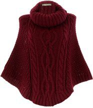 Poncho mohair grosse maille bordeaux ELODY