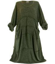 Robe laine bohème longue kaki ROSALIE