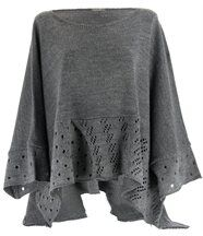 Pull poncho laine mohair gris bianca