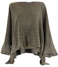 Pull poncho laine mohair taupe BIANCA