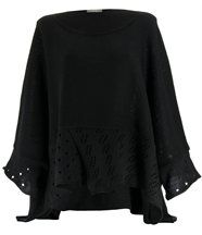 Pull poncho laine mohair noir bianca