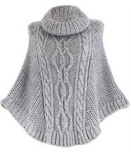 Poncho mohair grosse maille gris perle ELODY