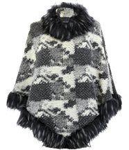 Cape manteau imitation fourrure  rosetta  écru gri