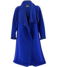 Manteau hiver laine bouillie AURELIA bleu royal