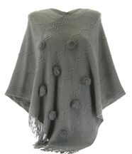 Poncho long pompons hiver adeline gris