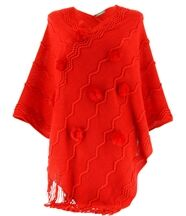 Poncho long pompons hiver adeline rouge