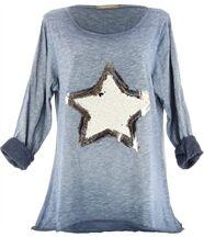 tee shirt hippie étoile CLAUDIA bleu jean