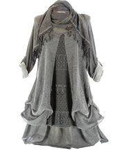 robe + foulard dentelle bohème LEONARDA gris