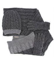 Pack écharpe bonnet gants laine mixte damien gris