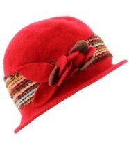 Chapeau cloche laine bouillie achille rouge