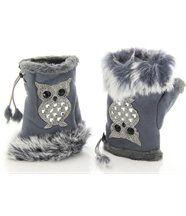 Mitaines gants chouette gris
