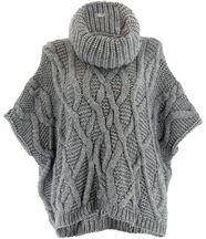 Pull poncho mohair hiver sorenza gris
