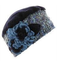 Bonnet femme hiver laine mathieu bleu