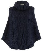 Poncho mohair grosse maille bleu marine elody