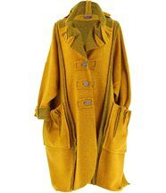 Manteau long hiver laine karla moutarde