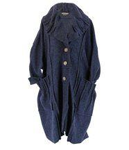 Manteau long hiver laine karla bleu