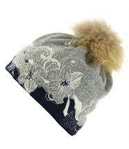 Bonnet laine pompon fourrure tatiana bleu
