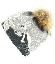 Bonnet laine pompon fourrure tatiana gris