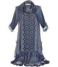 Robe + foulard dentelle bohème melissa bleu jean